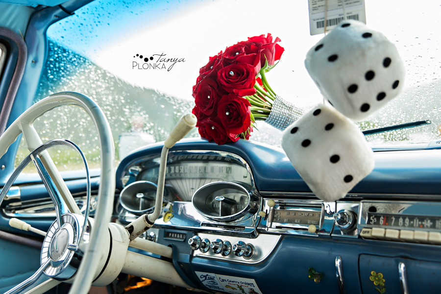 Shawn & Adrienne, Waterton vintage car wedding photos