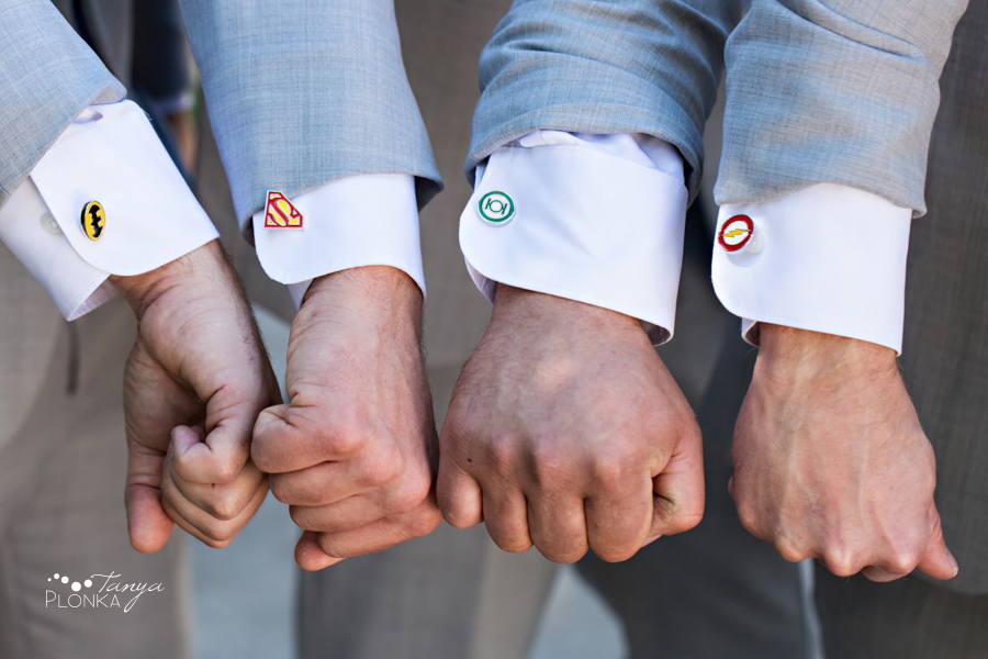 Monika and Peter, wedding super hero cufflinks