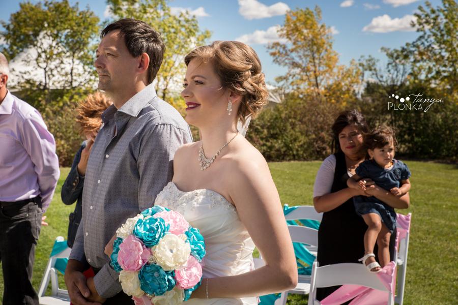 Cameron and Morgan, Fort Macleod backyard wedding ceremony