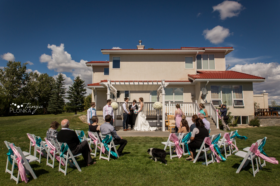 Cameron and Morgan, Fort Macleod backyard wedding ceremony
