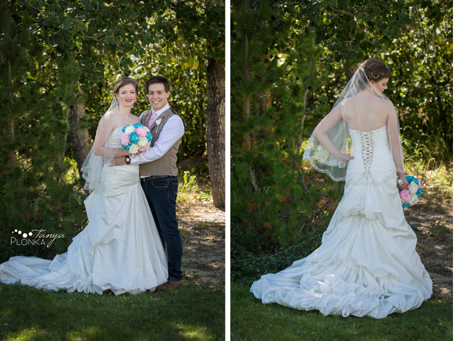 Cameron and Morgan, Fort Macleod backyard wedding photography