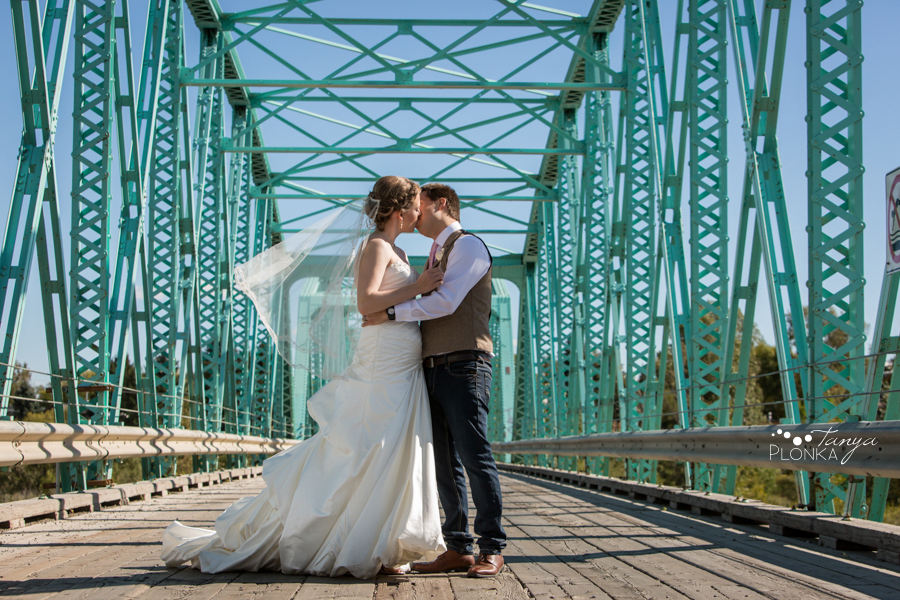 Cameron and Morgan, Fort Macleod green bridge wedding photography