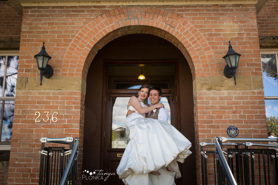 Cameron and Morgan, downtown Fort Macleod wedding photography