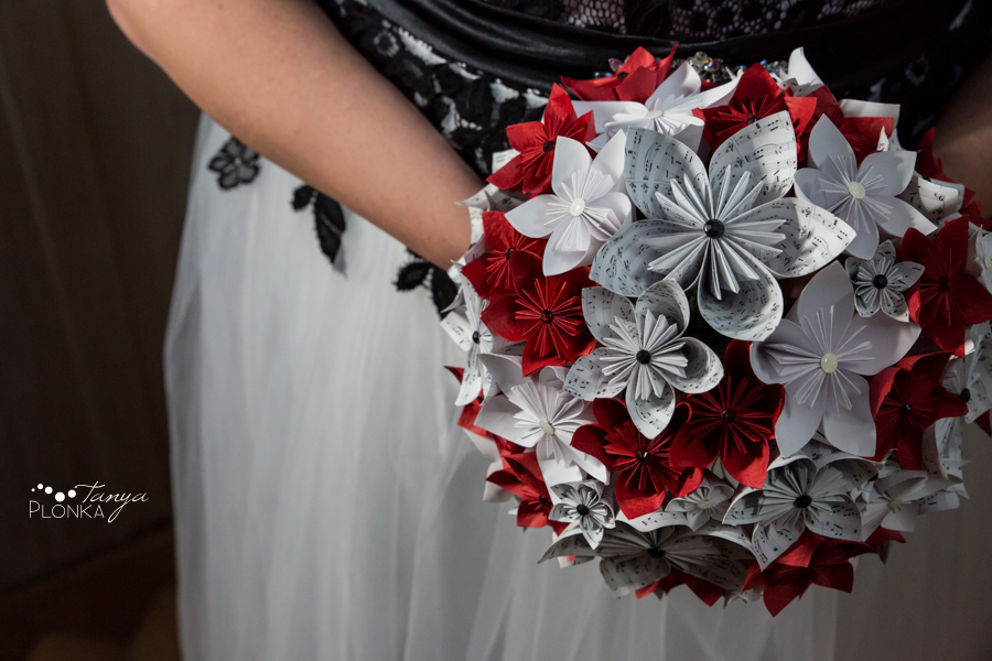 Desiree and Craig, origami flower bridal bouquet