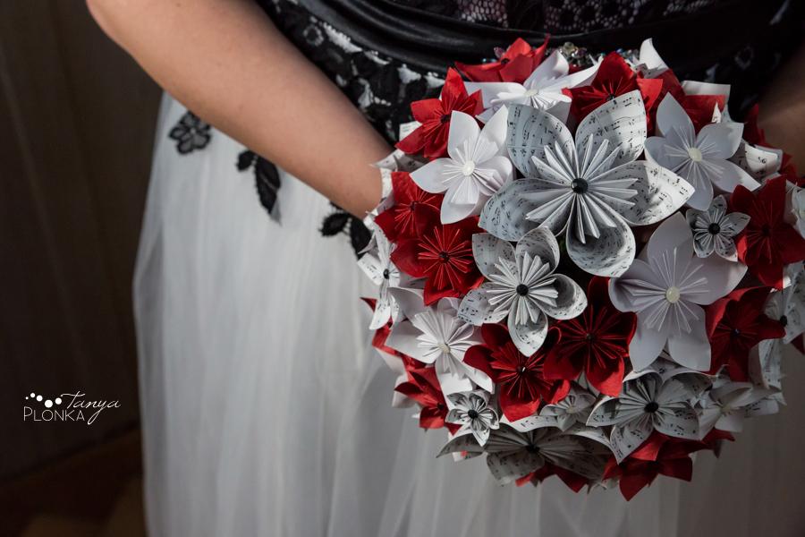 Desiree and Craig, origami flower bridal bouquet