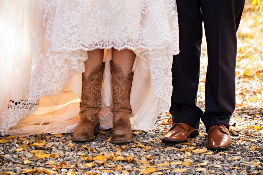 Maxinne and GJ, Fort Macleod autumn bridal portraits