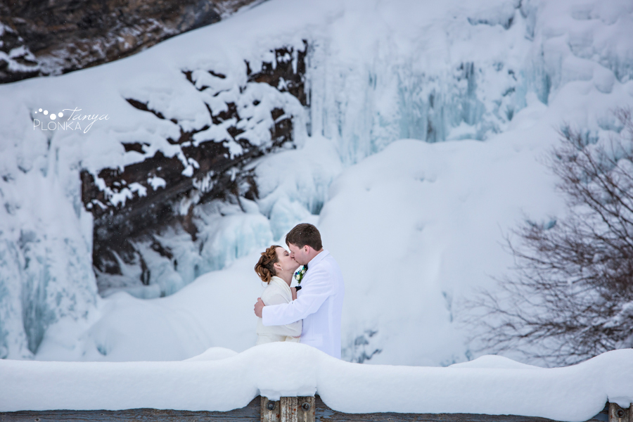 Jeremiah and Hannah, Waterton Cameron Falls winter wedding photos