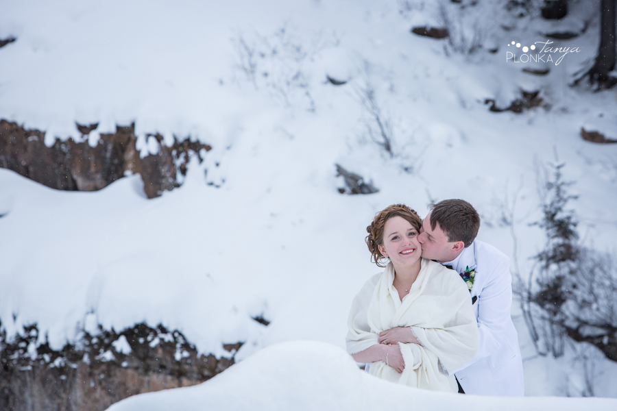 Jeremiah and Hannah, Waterton Cameron Falls winter wedding photosg