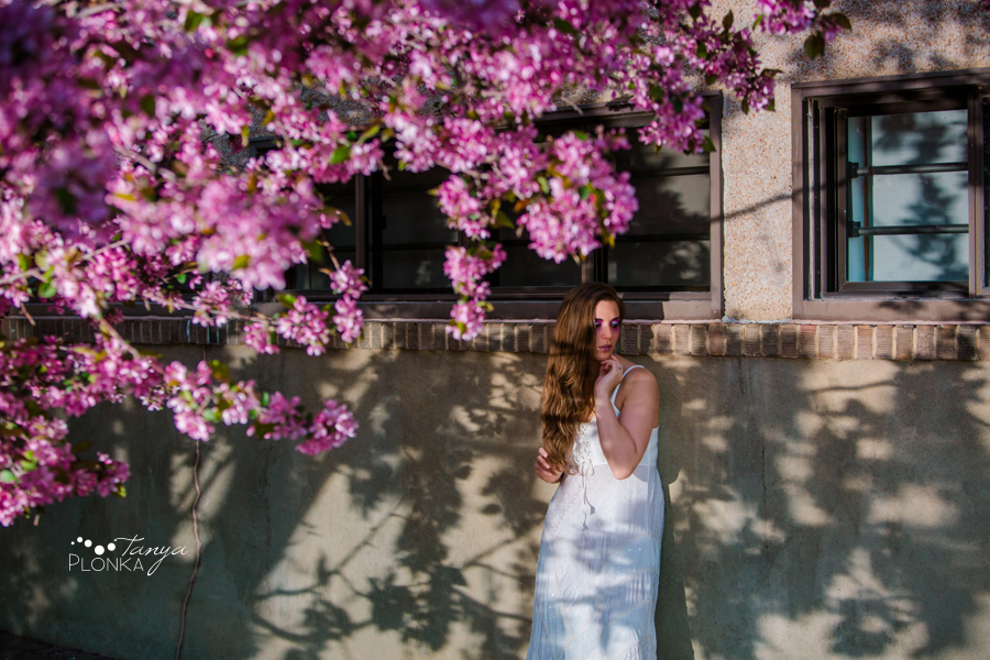 pink spring blossom portraits in Lethbridge