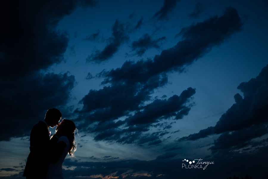Kim and Nathaniel, night time wedding photos in Lethbridge