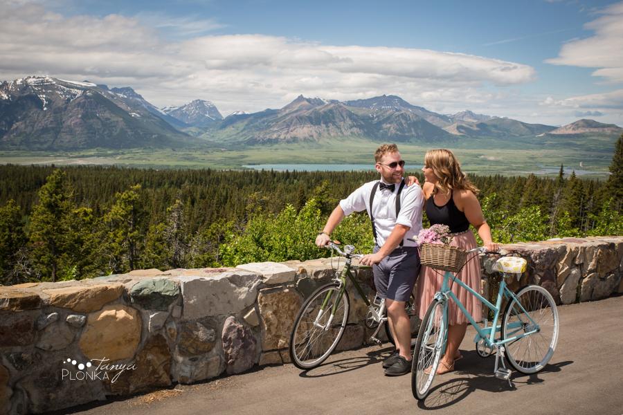 Waterton bicycle adventure engagement photos