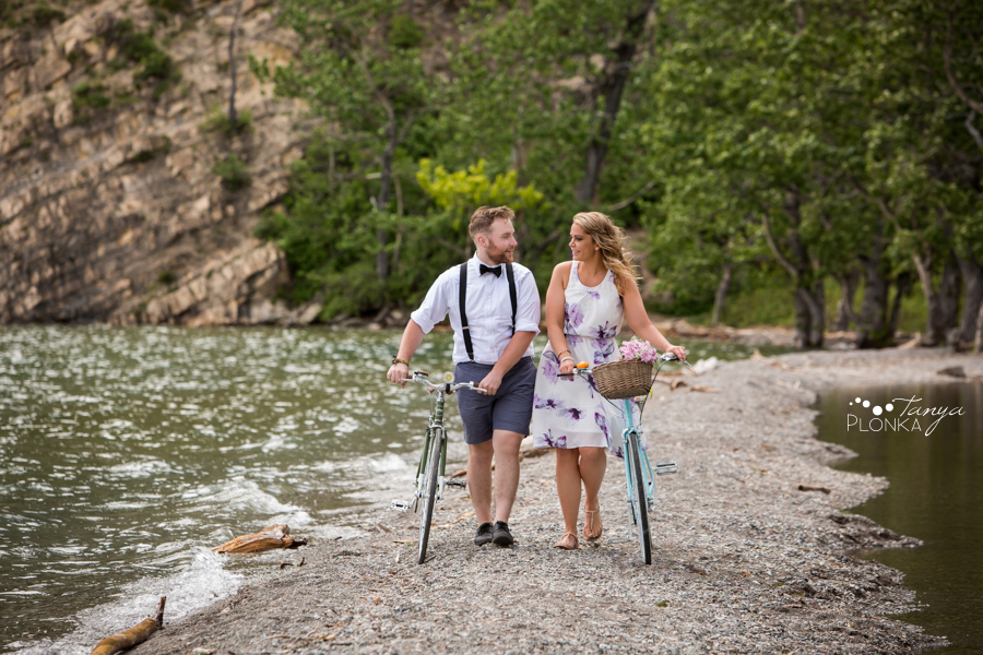 Waterton bicycle adventure engagement photos