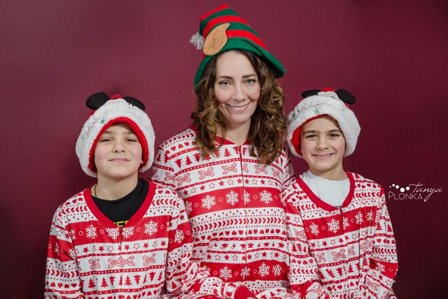 Christmas pyjama family photos in Lethbridge