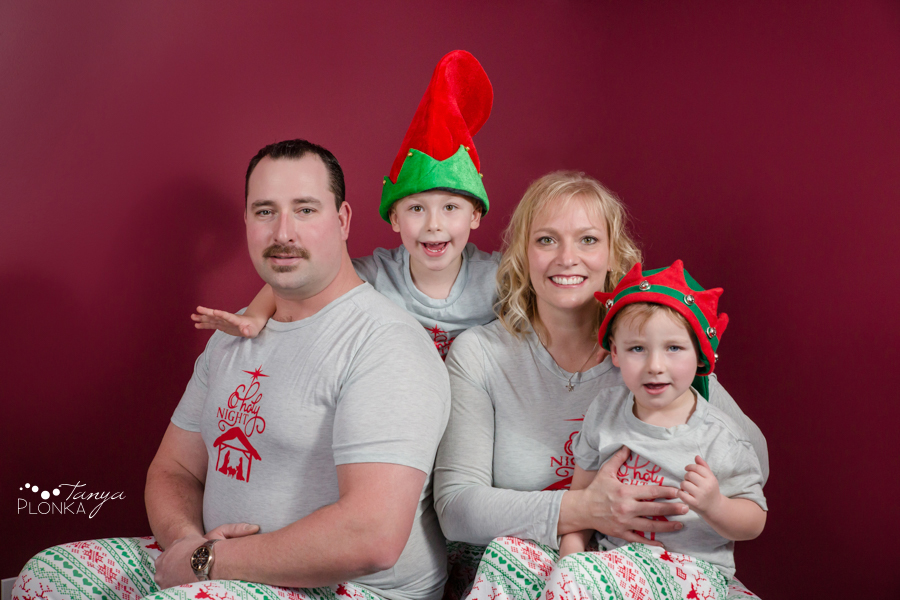 Christmas pyjama family photos in Lethbridge