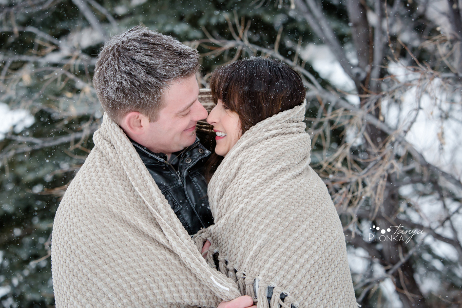 snowy west Lethbridge engagement photos