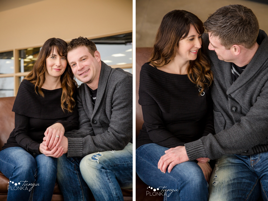 warm indoor engagement photos in Lethbridge