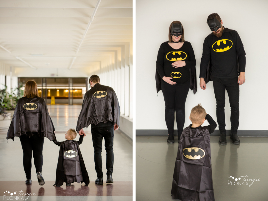 Batman themed maternity photography