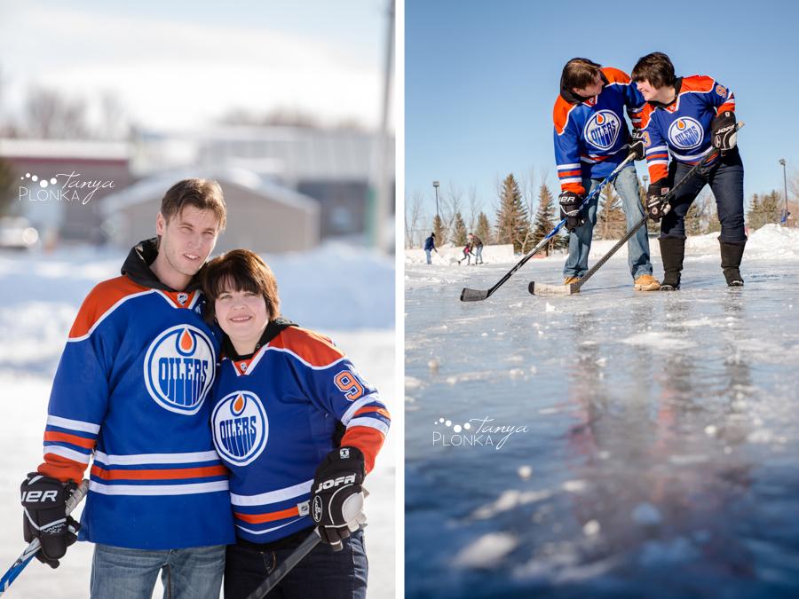 Coalhurst outdoor ice rink couples hockey photos