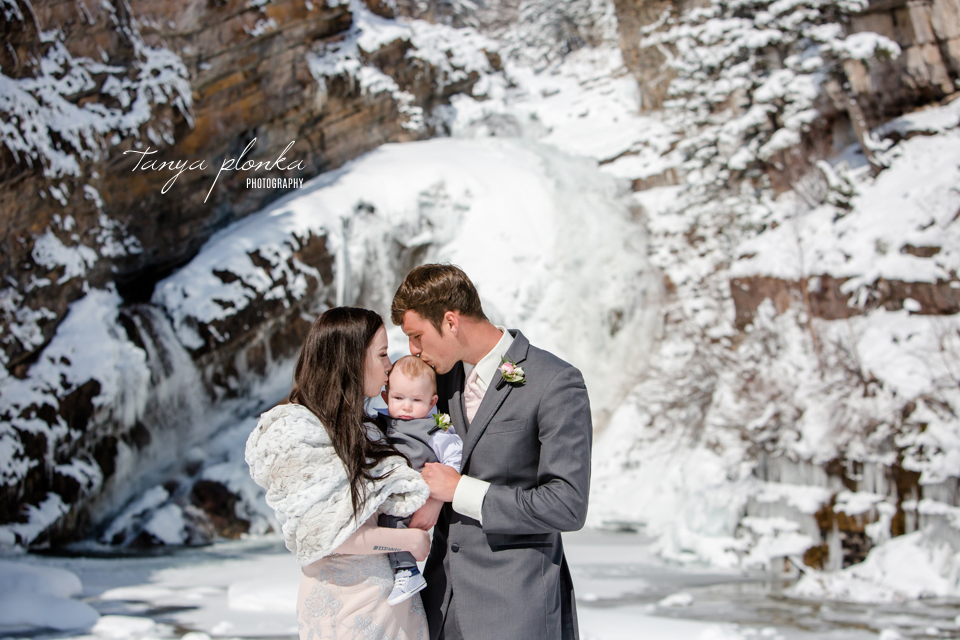 Kayla & Lucas, Waterton Cameron Falls winter wedding photos