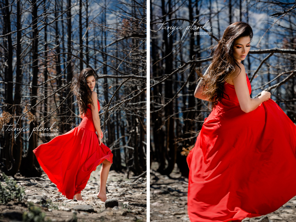 Waterton fire goddess creative photoshoot