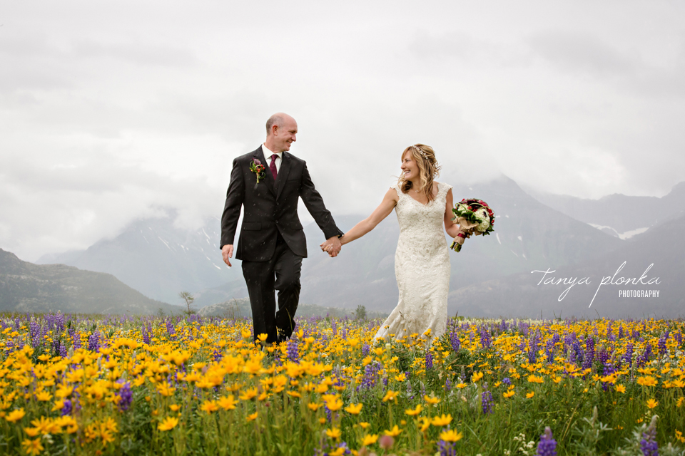 Jennifer and Scott, Waterton wild flower wedding photos
