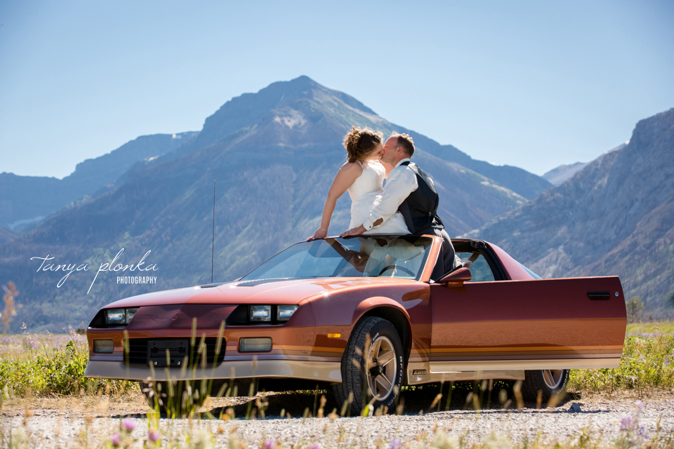 Jessica and Jordan, Waterton wedding photos with vintage cars