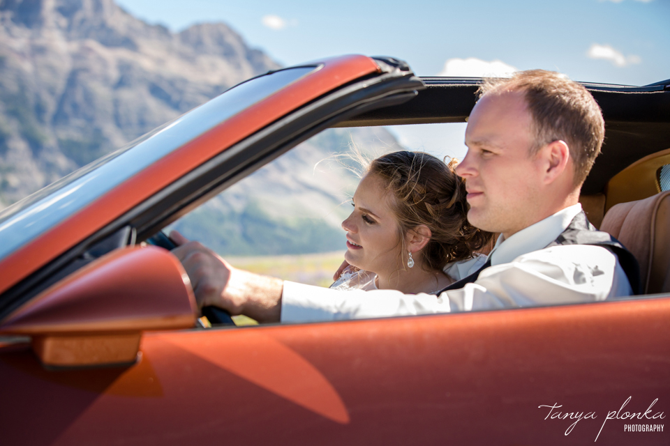 Jessica and Jordan, Waterton wedding photos with vintage cars