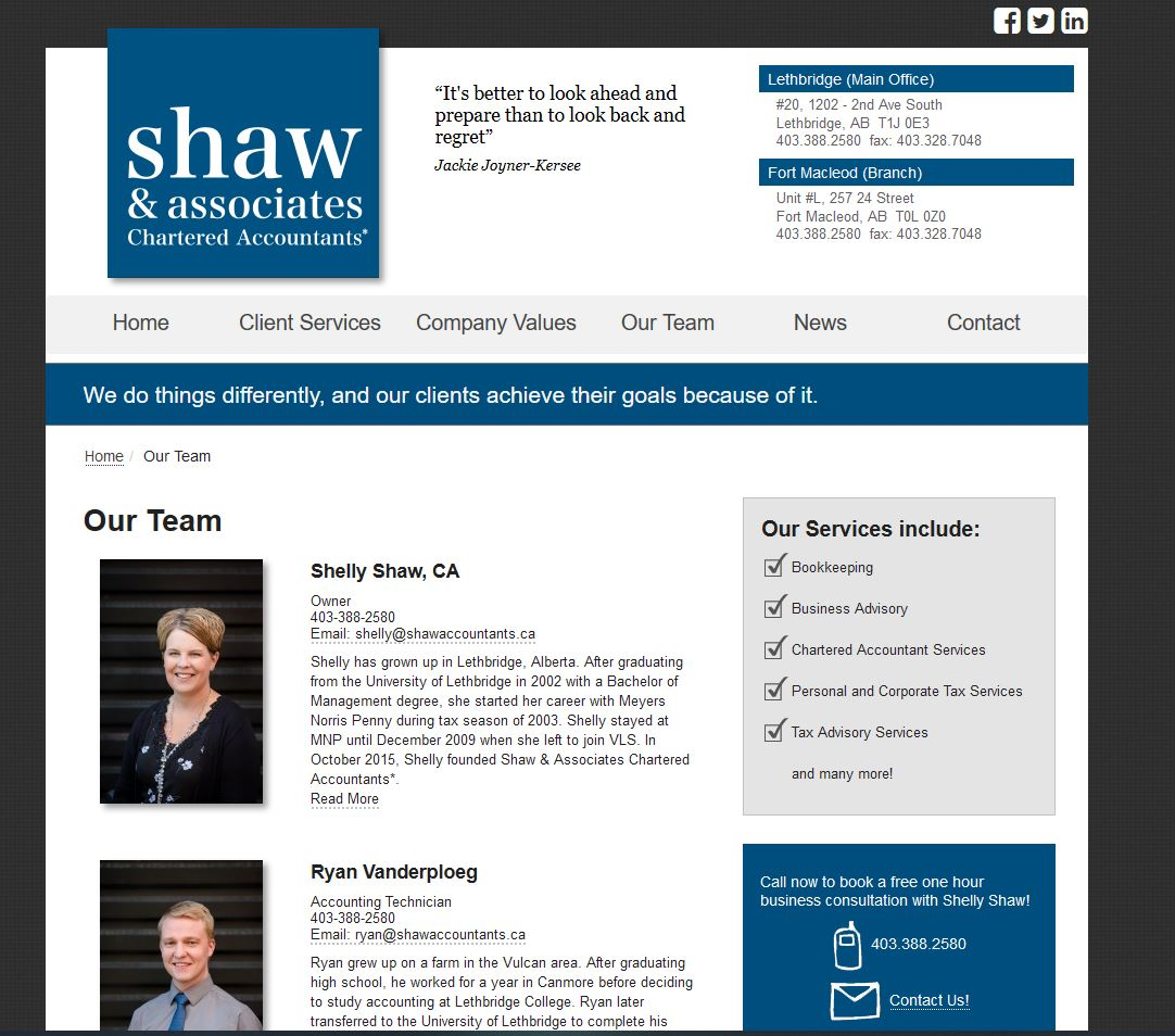 Lethbridge accounting staff headshots, Shaw & Associates