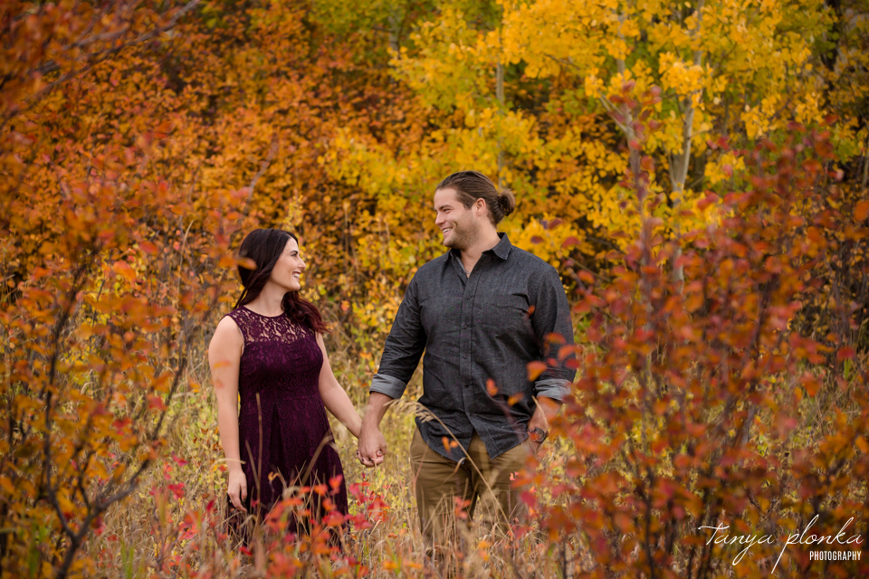 Lundbreck Falls autumn engagement photography