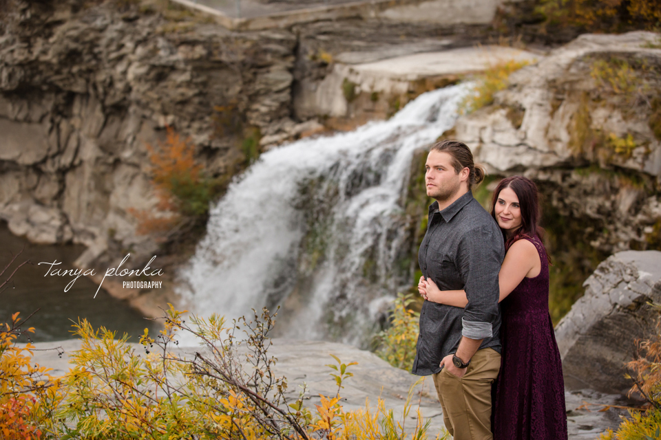 Lundbreck Falls autumn engagement photo session