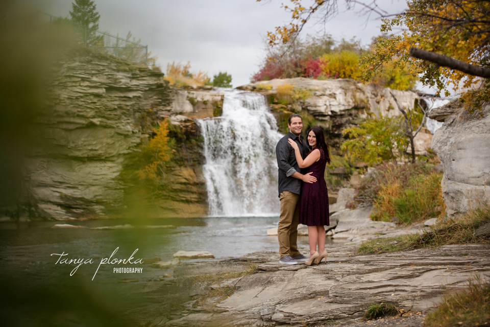 Lundbreck Falls fall engagement photos