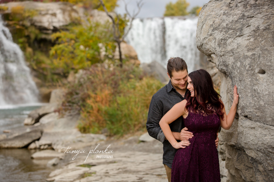 Lundbreck Falls autumn engagement photos