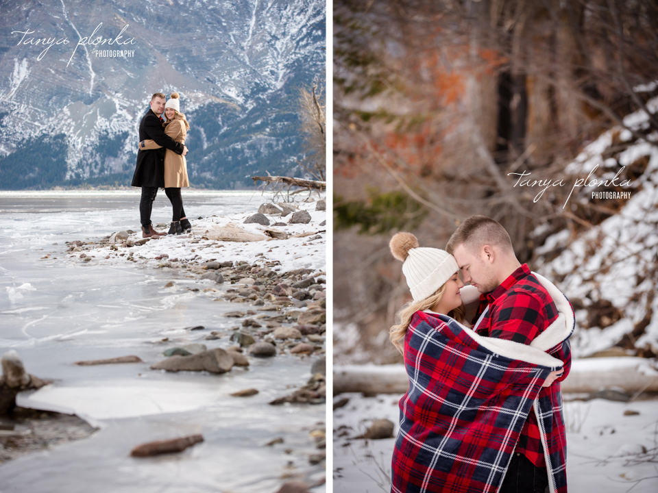 Waterton winter anniversary couples photos