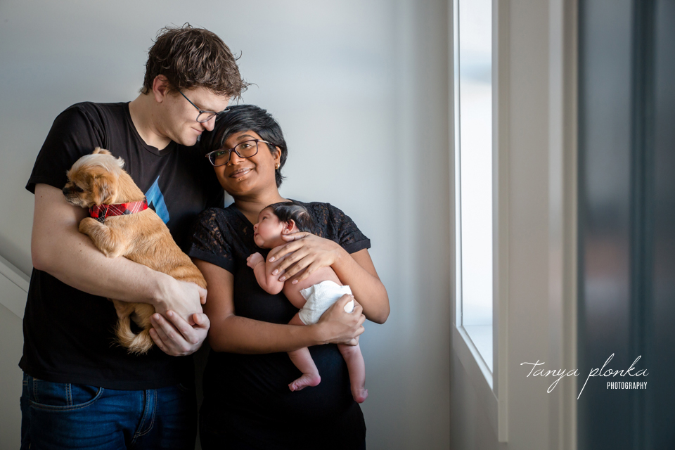 Lethbridge family photos with newborn and small dog