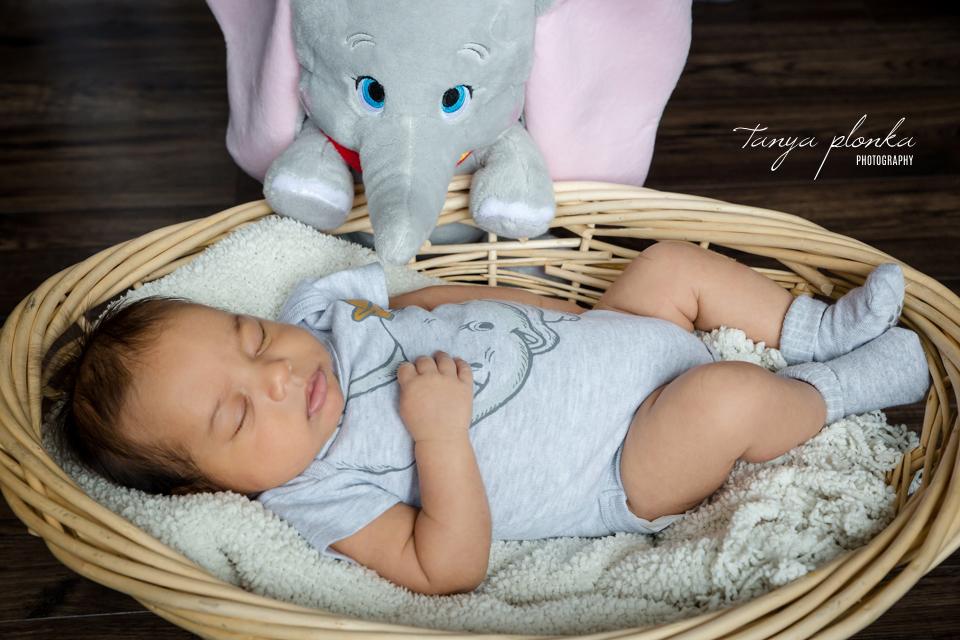 baby sleeping with stuff Dumbo the Elephant toy in Lethbridge