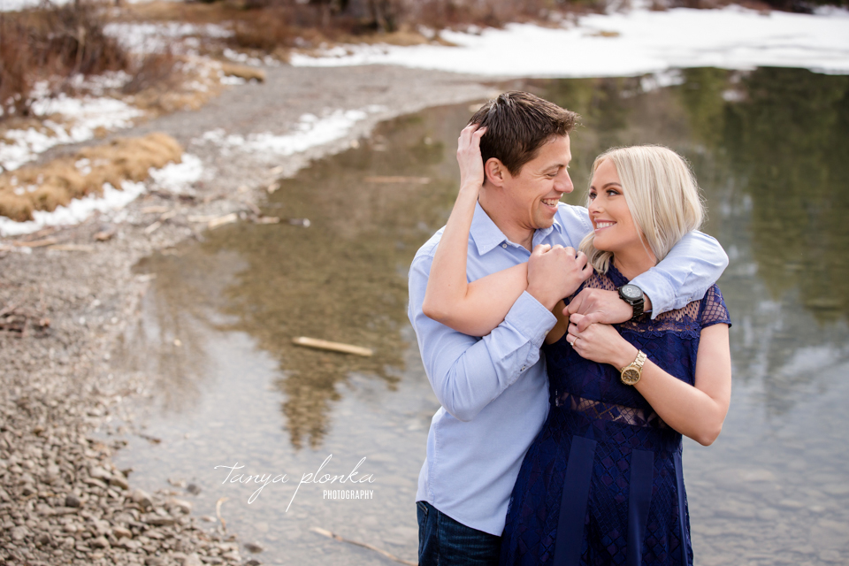 Crowsnest Pass mountain lake engagement photos