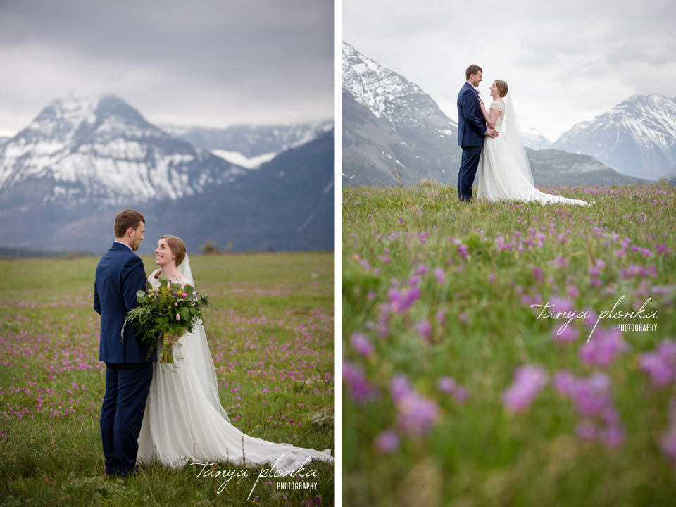 Isabelle and Andrew, Waterton wild flower season wedding photography