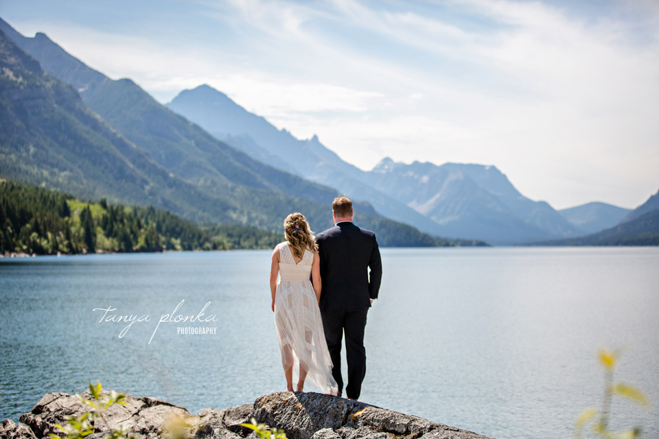 Catherine and Griffin, scenic view of Waterton