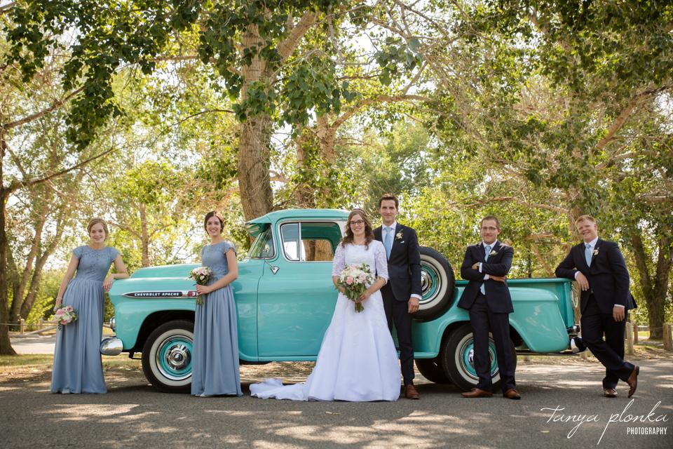 Jody & Corne, classic Chevy truck wedding party