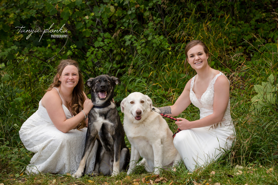 Cassie and Chelsea, Waterton wedding photos with dogs