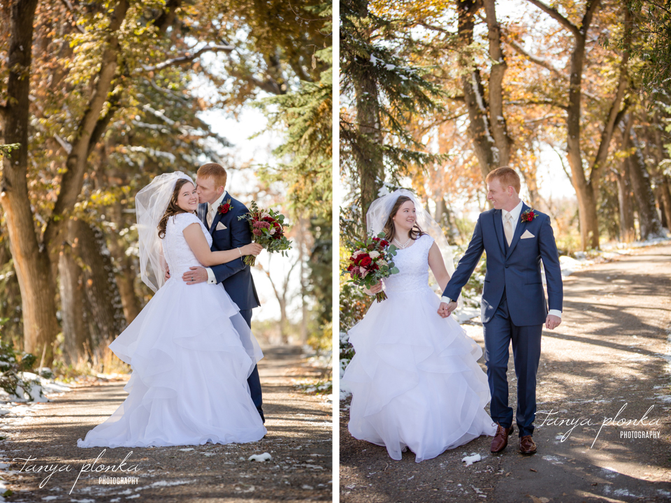 Janita and William, snowy Norland wedding portraits