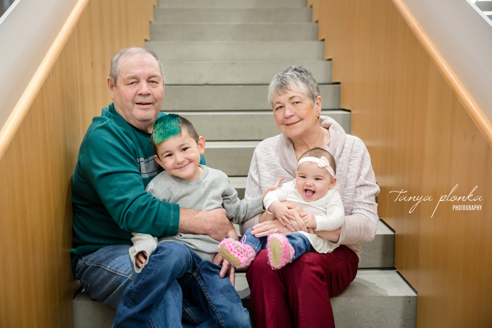 University of Lethbridge indoor grandparents photo session