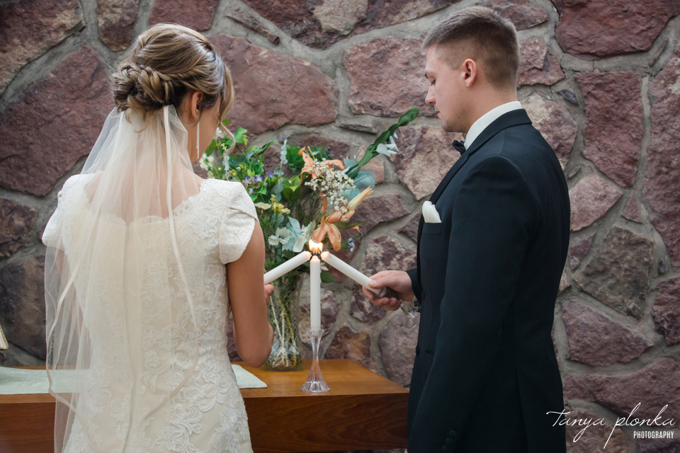 Candace and Davis, Waterton United Church winter wedding