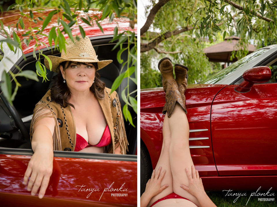 red car boudoir photography