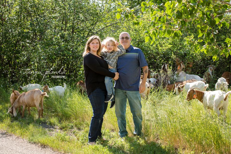 Lethbridge family photos with goats