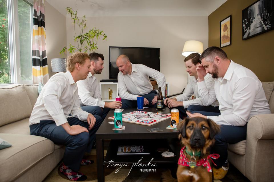 Francine & Clayton, Edmonton groomsmen hanging out