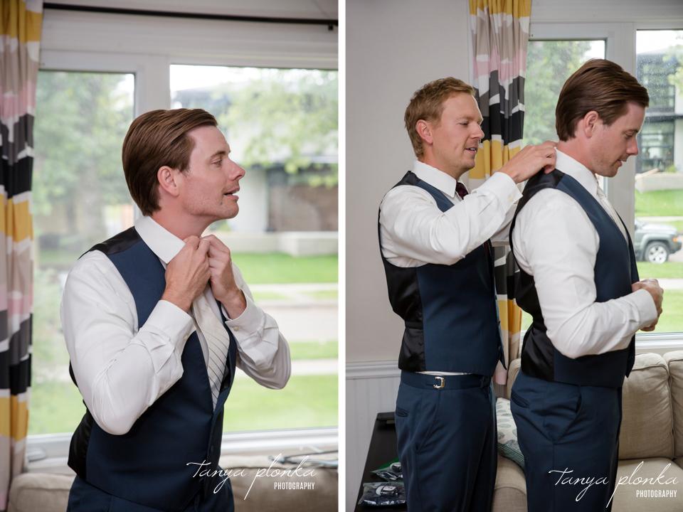 Francine & Clayton, Edmonton groom getting ready