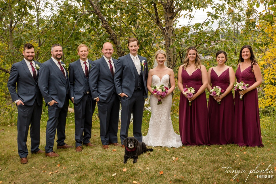 Francine & Clayton, Edmonton outdoor wedding party portraits with dog