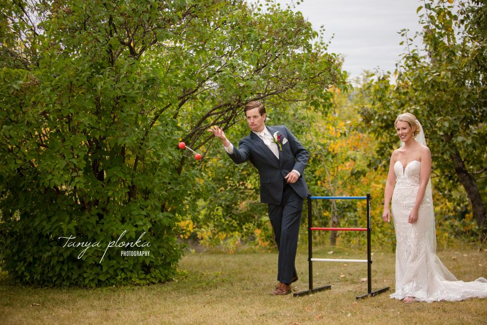 Francine & Clayton, Edmonton bride and groom playing games