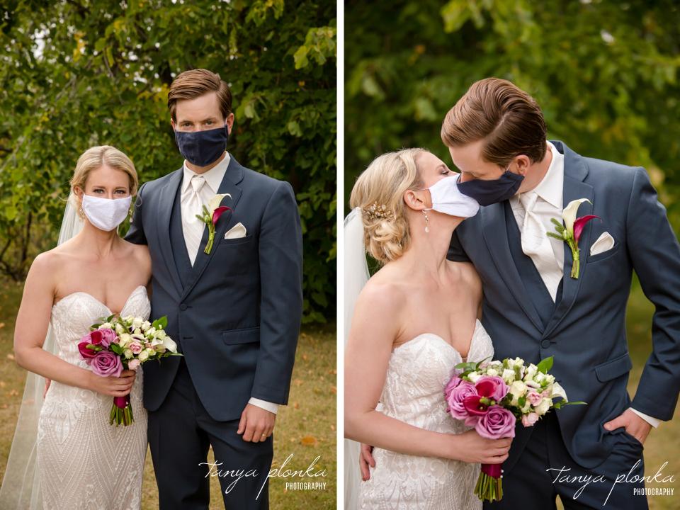 Francine & Clayton, bride and groom in COVID masks